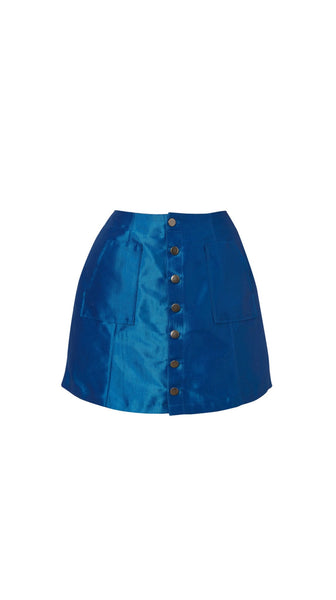Blue Metallic Denim Mini Skirt Meghan Hughes Nineteenth Amendment
