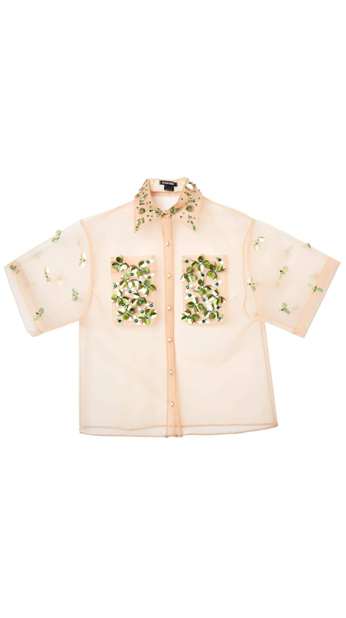 Embellished Bejeweled Oversized Beige Nude Button-Down by Meghan Hughes | Nineteenth Amendm...