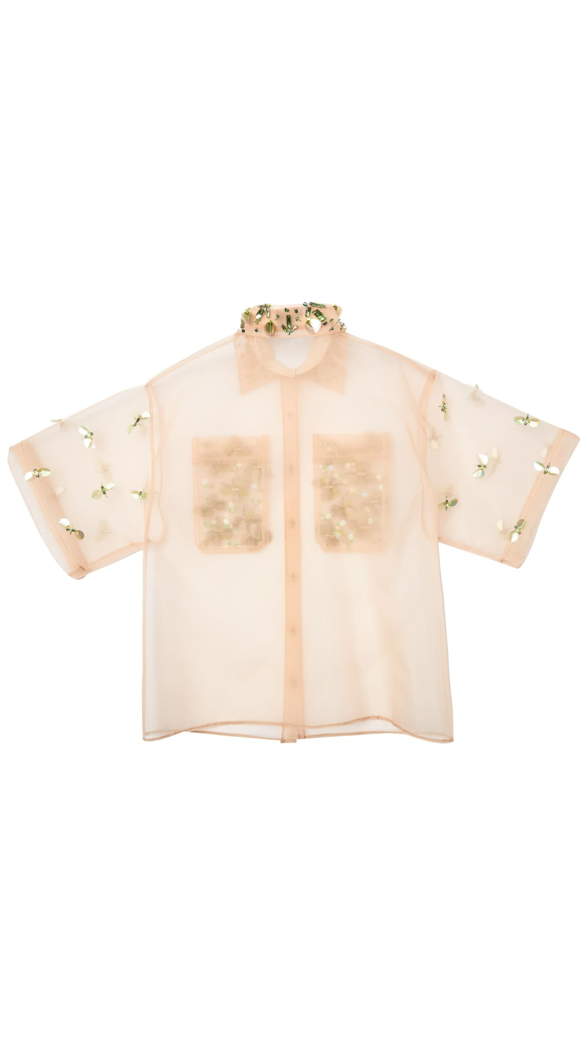 Embellished Bejeweled Oversized Beige Nude Button-Down by Meghan Hughes | Nineteenth Amendment