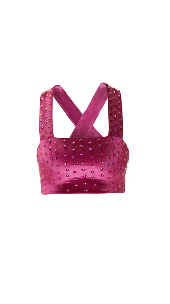 Jewel Embellished Pink Crop Top by Meghan Hughes | Nineteenth Amendment