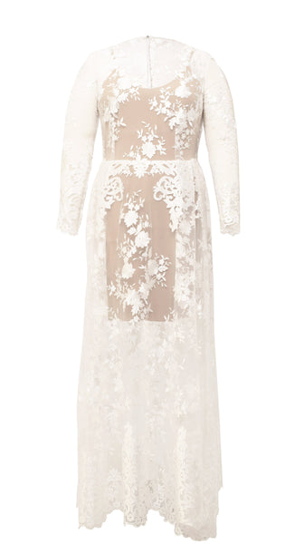Nerecina Plus Size Flora Gown Bridal Formalwear Made in LA Nude Lace See through Nude gown long sleeve