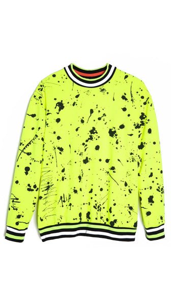 Florescent Yellow and black paint art Splatter Print Sweatshirt by Lobo Mau Made in Philadelphia | Nineteenth Amendment