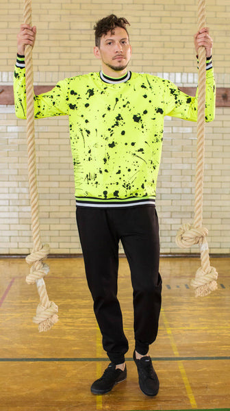 Florescent Yellow Splatter Print Sweatshirt