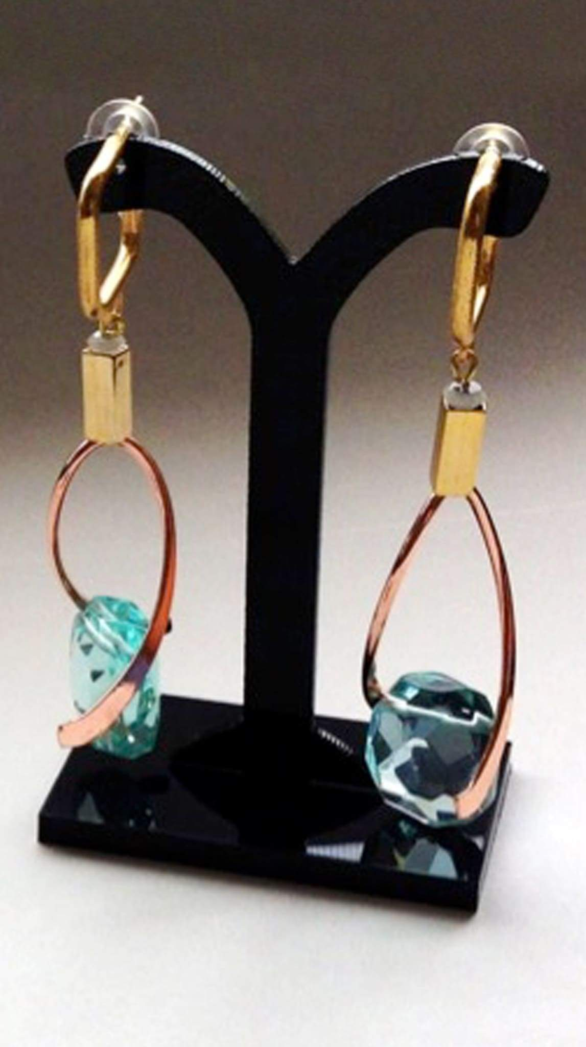 Gala Earrings in Aquamarine by Ruby Dávila-Rendón Jewelry Made in Puerto Rico | Nineteenth Amendment