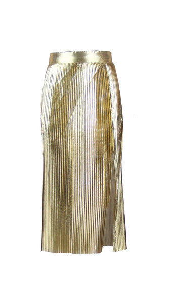 Gold Column Pleated Midi Skirt by Chanho Jang | Nineteenth Amendment