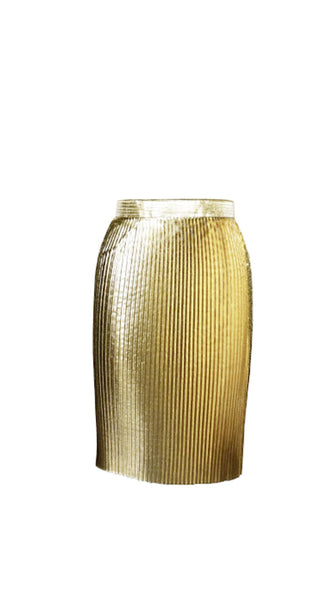 Metallic Gold Wrap Skirt by Chanho Jang | Nineteenth Amendment