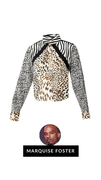 Gone Wild leopard print animal print military Shirt by Marquise Foster of Bravo's Project Runway | Nineteenth Amendment
