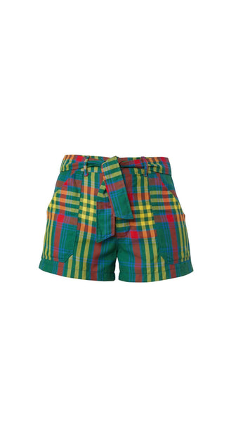 Green Pink Yellow Plaid Shorts by Meghan Hughes Nineteenth Amendment