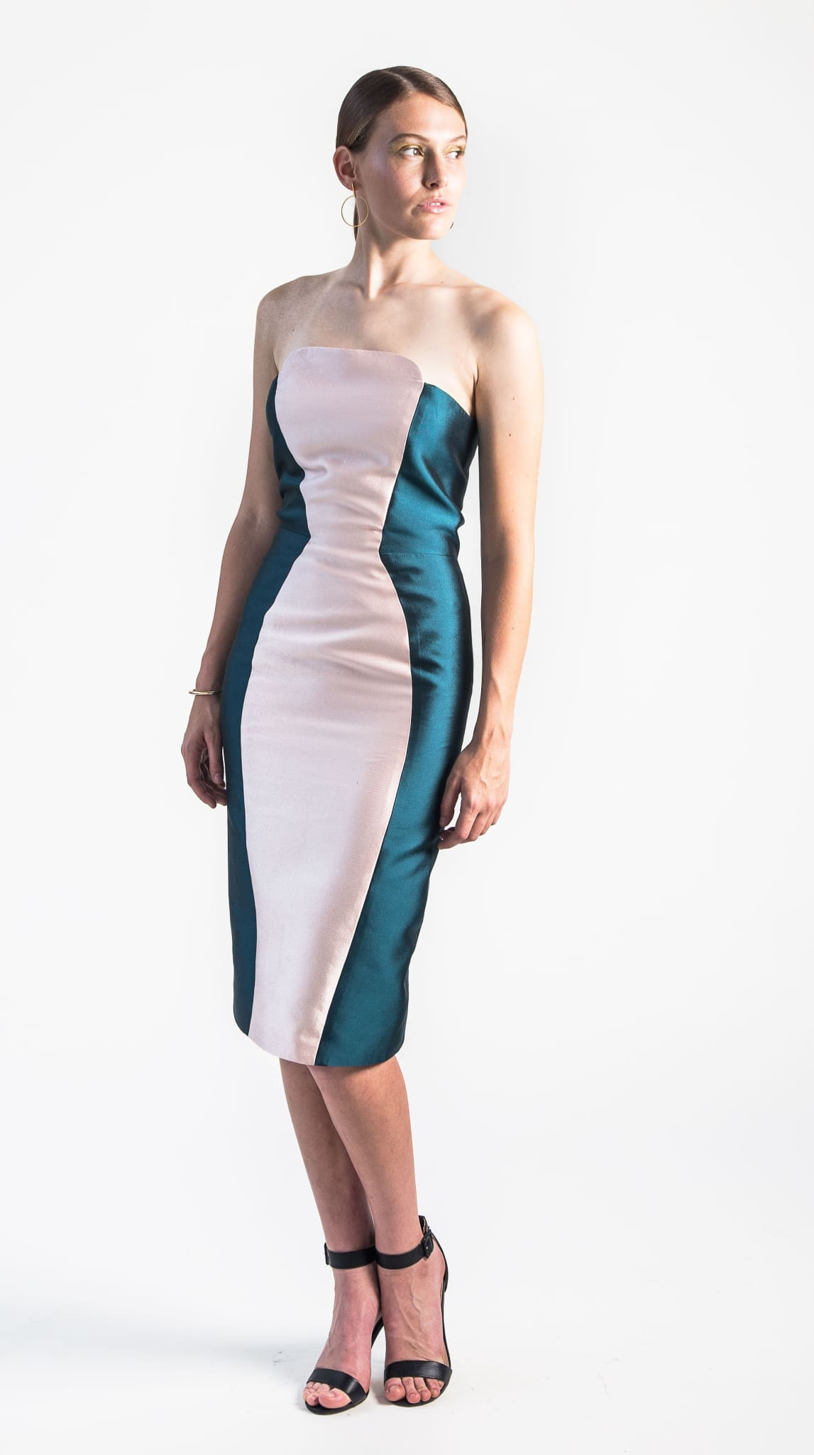 pink and teal colorblocked Haven Strapless Dress front from VARYFORM for Nineteenth Amendment