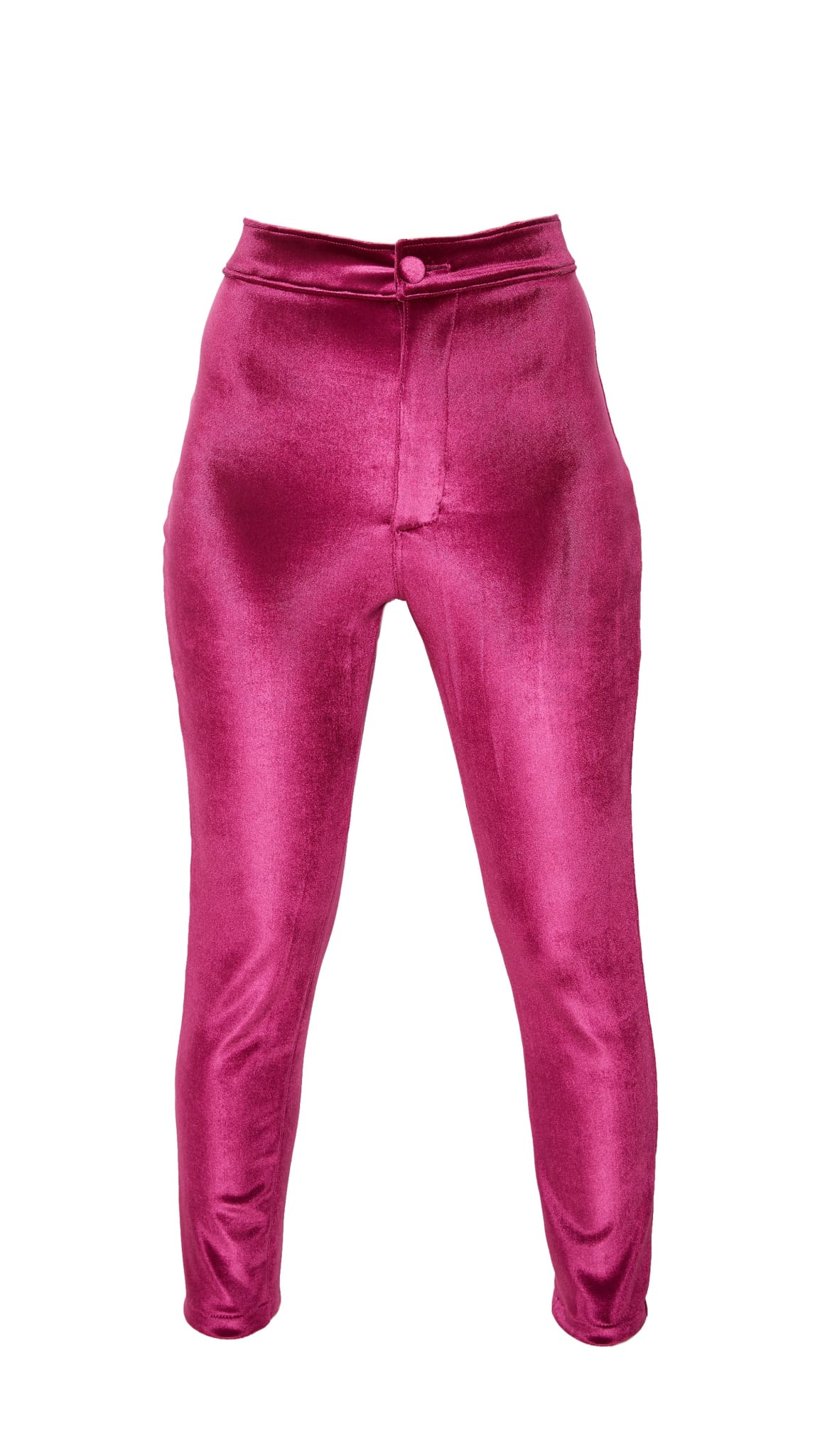 Pink Hi-Waisted Stretch Velour Cigarette Pants by Meghan Hughes | Nineteenth Amendment