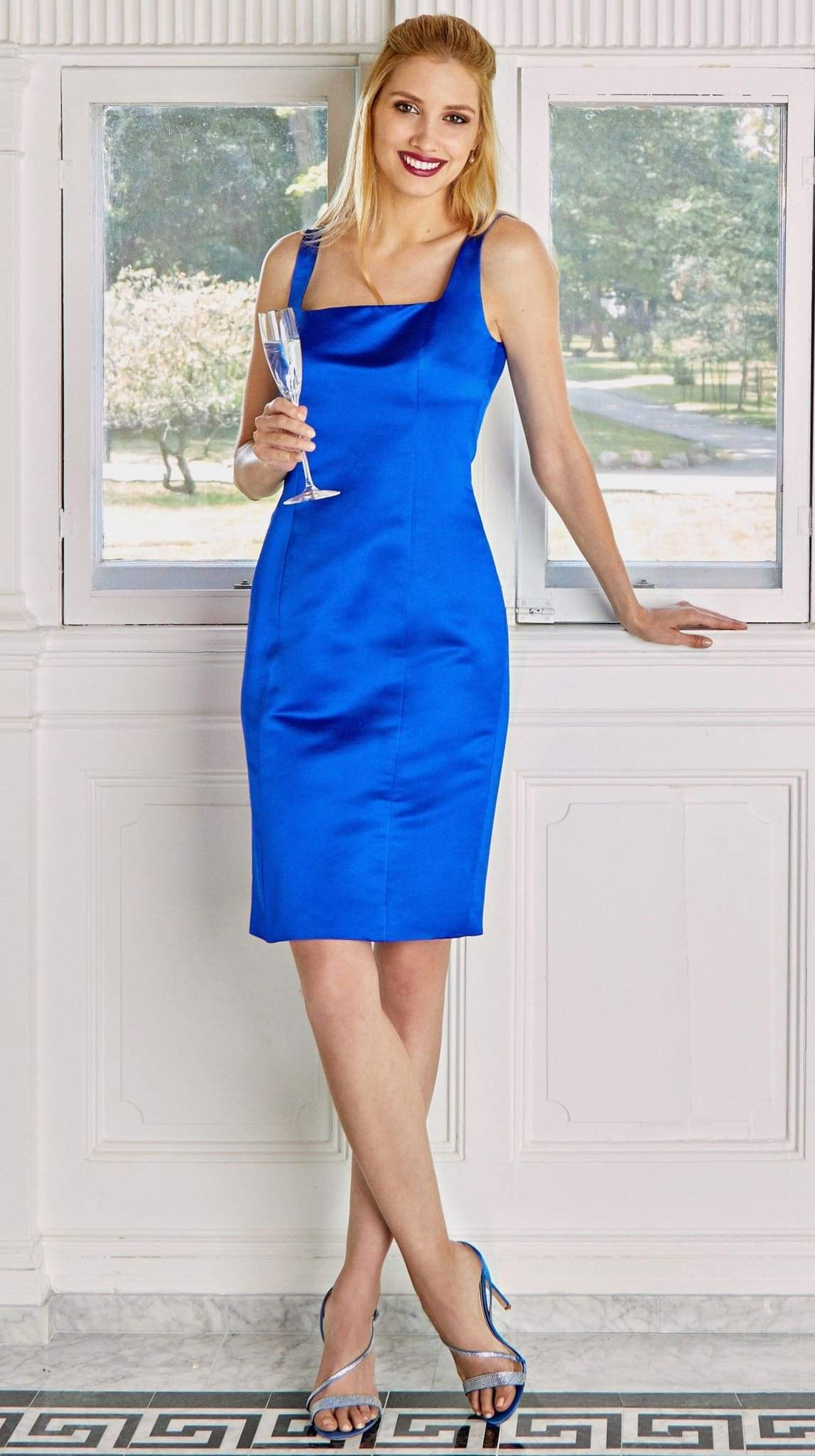 Customizable Blue Silk Cocktail Iris Dress in Blue by Bespoke Southerly | Nineteenth Amendment