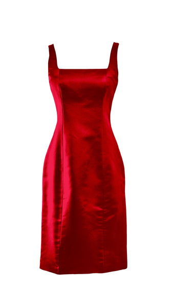 Customizable Red Silk Cocktail Iris Dress in Red by Bespoke Southerly | Nineteenth Amendment