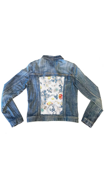 ITSO Astro Denim Upcycled Jacket with Mesh Astrology Panel by ITSO | Nineteenth Amendment