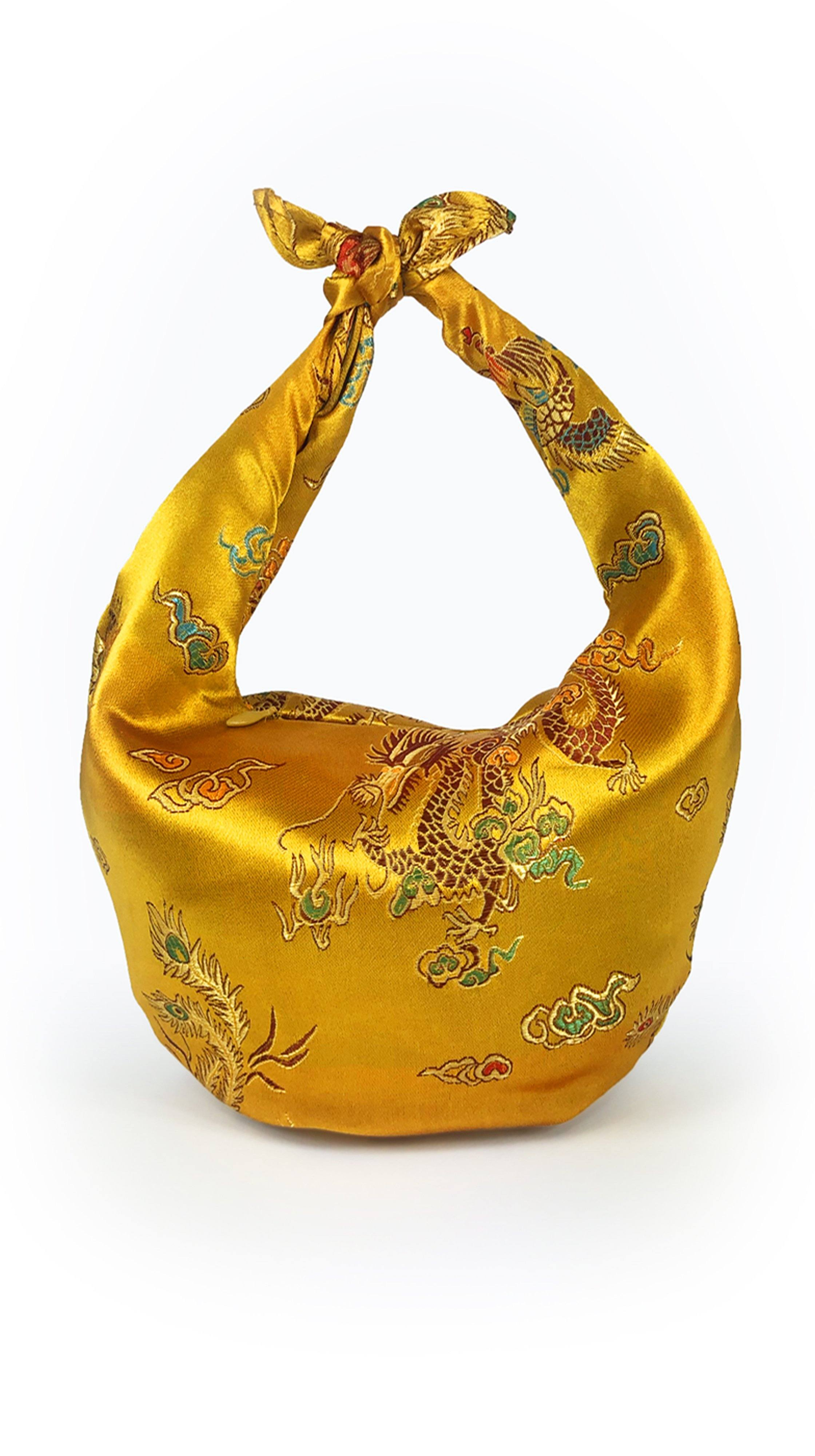 ITSO Easy Mini Purse Tie Bag in Gold Chinese Jacquard by ITSO | Nineteenth Amendment