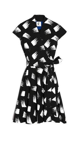 Japanese Black and White Print Wrap Dress by Lobo Mau Made in Philadelphia | Nineteenth Amendment