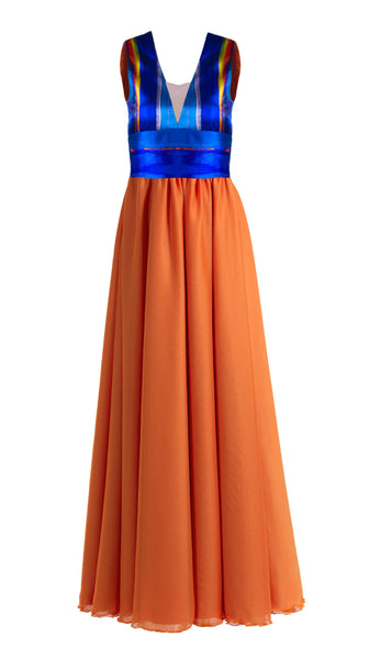 Kaua Blue and Orange Maxi Dress by SF Couture | Nineteenth Amendment