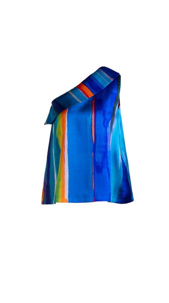 Blue striped Kohala One-Shoulder Blouse by SF Couture | Nineteenth Amendment