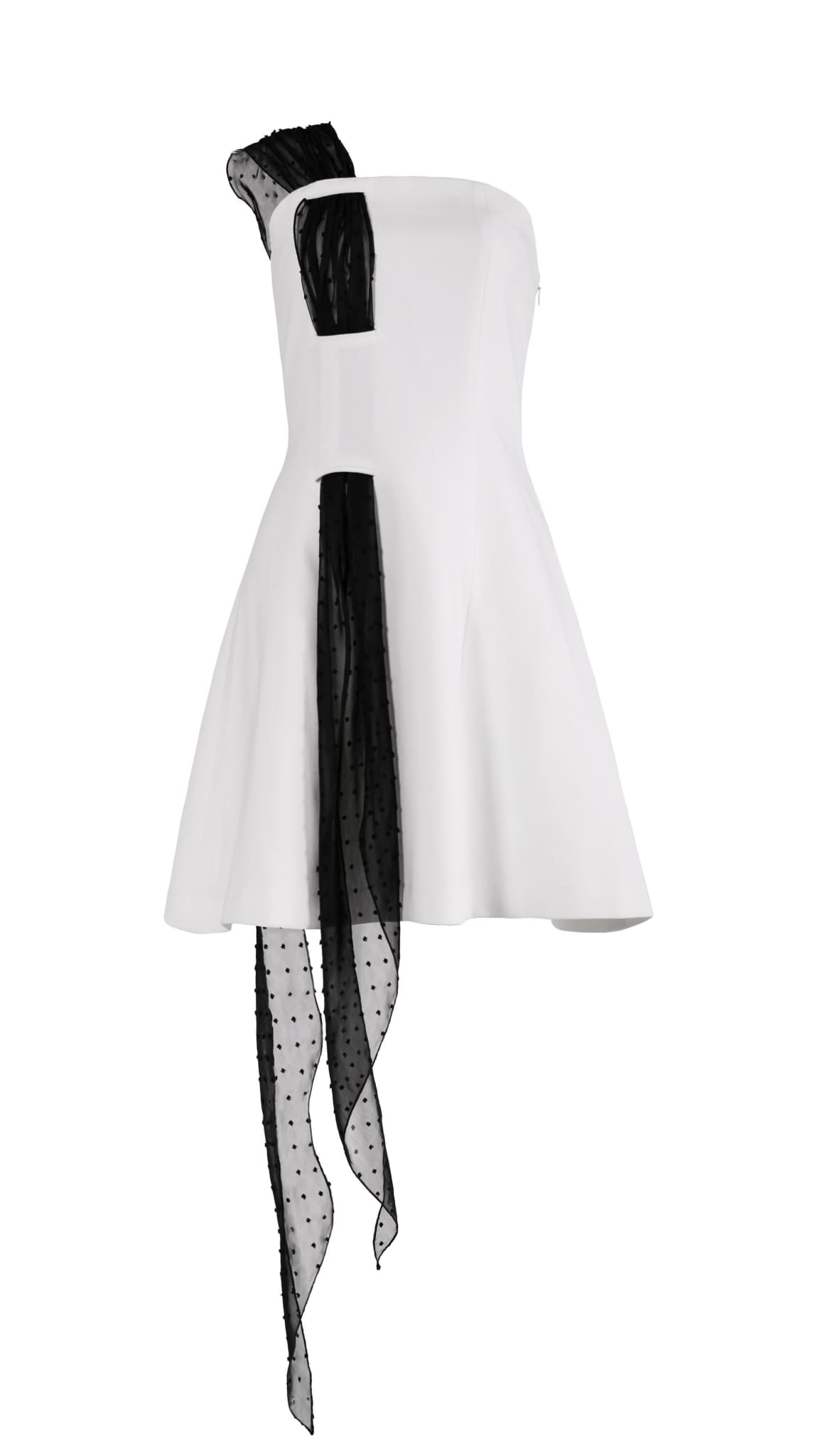 Leda white and black one shoulder dress by San Francisco brand SF Couture sustainable fashion made in the USA | Nineteenth Amendment