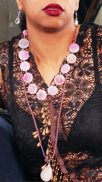 Lilac Strand Crystal Necklace with Pendant