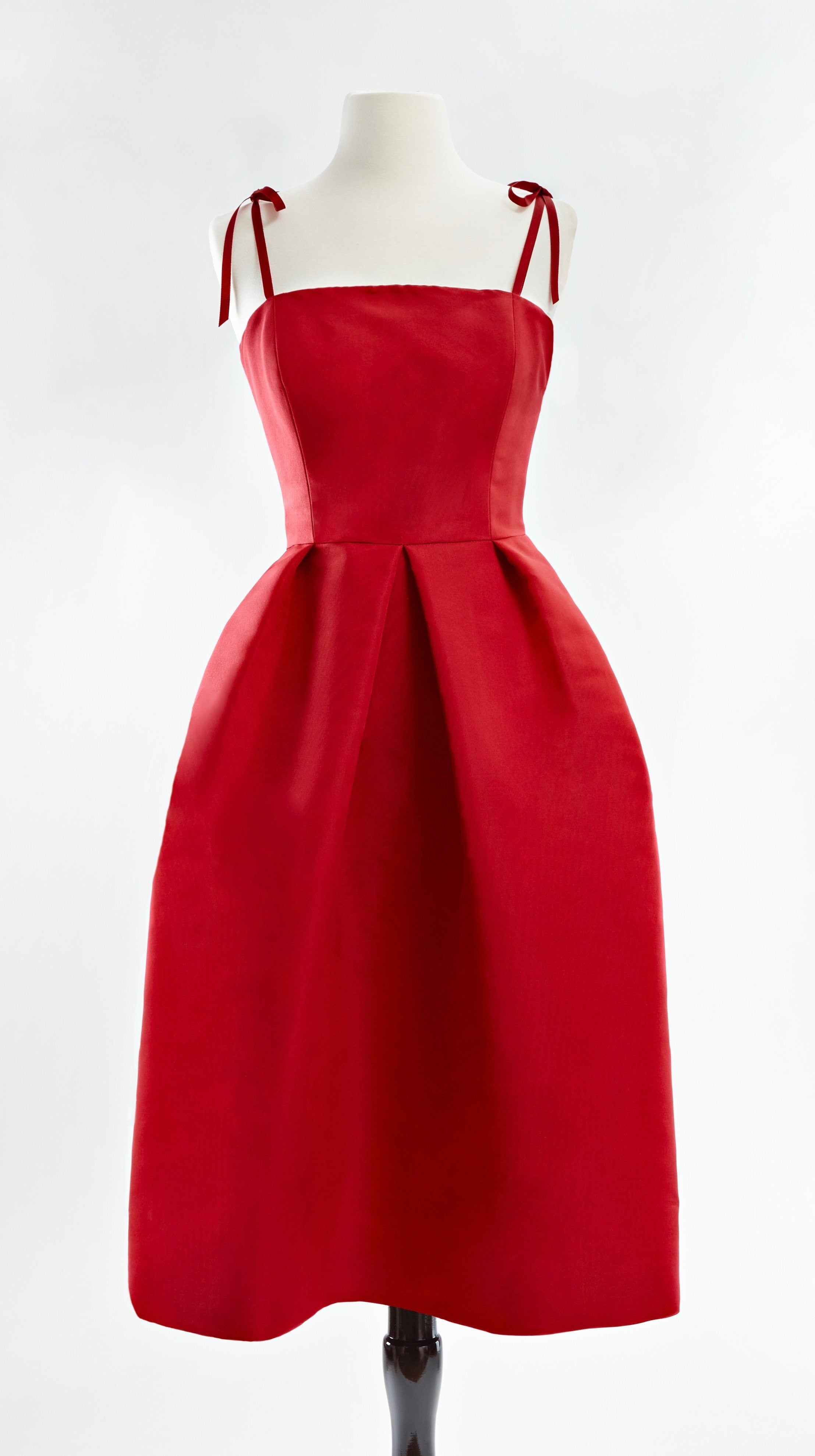 Customizable Red Silk Cocktail Lily Dress in Red by Bespoke Southerly | Nineteenth Amendment