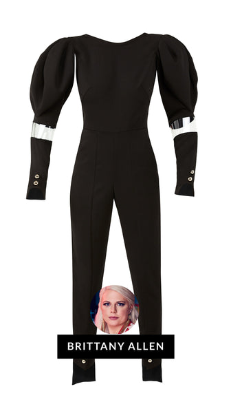 Lola Black Jumpsuit by Brittany Allen of Bravo's Project Runway | Nineteenth Amendment extended sizes made in USA