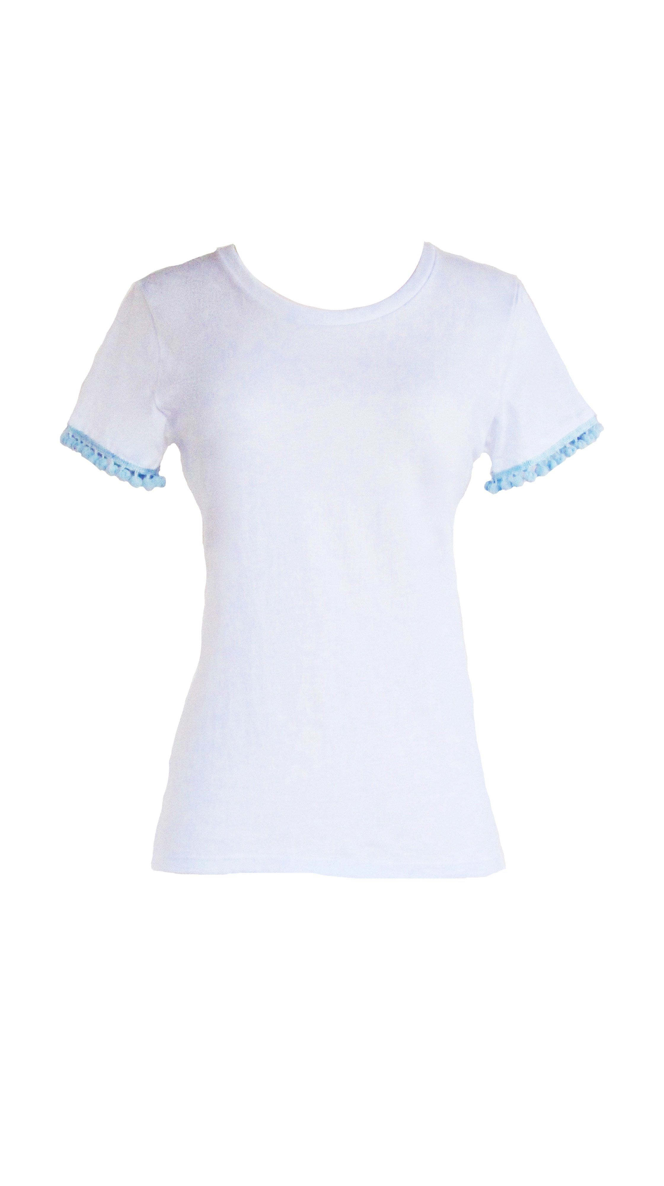 Love Poms Frill Top White Embellished T Shirt by Bespoke Southerly | Nineteenth Amendment