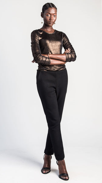 Luna Bronze Long Sleeve Top