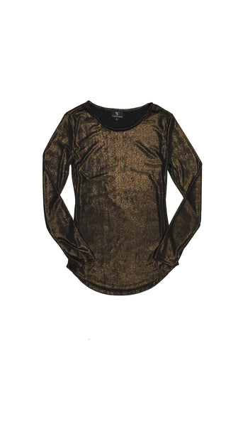 Metallic bronze, brown jersey knit basic long sleeve t-shirt. Independent fashion by Chicago designer Masha Titievsky of brand VARYFORM Nineteenth Amendment made sustainably on demand in the USA.