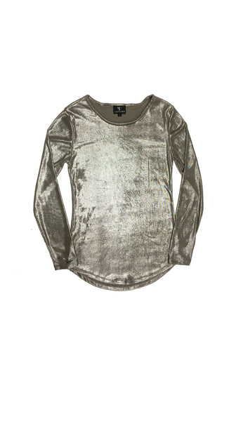 Luna Metallic Silver Long Sleeve Top flatlay by VARYFORM for Nineteenth Amendment