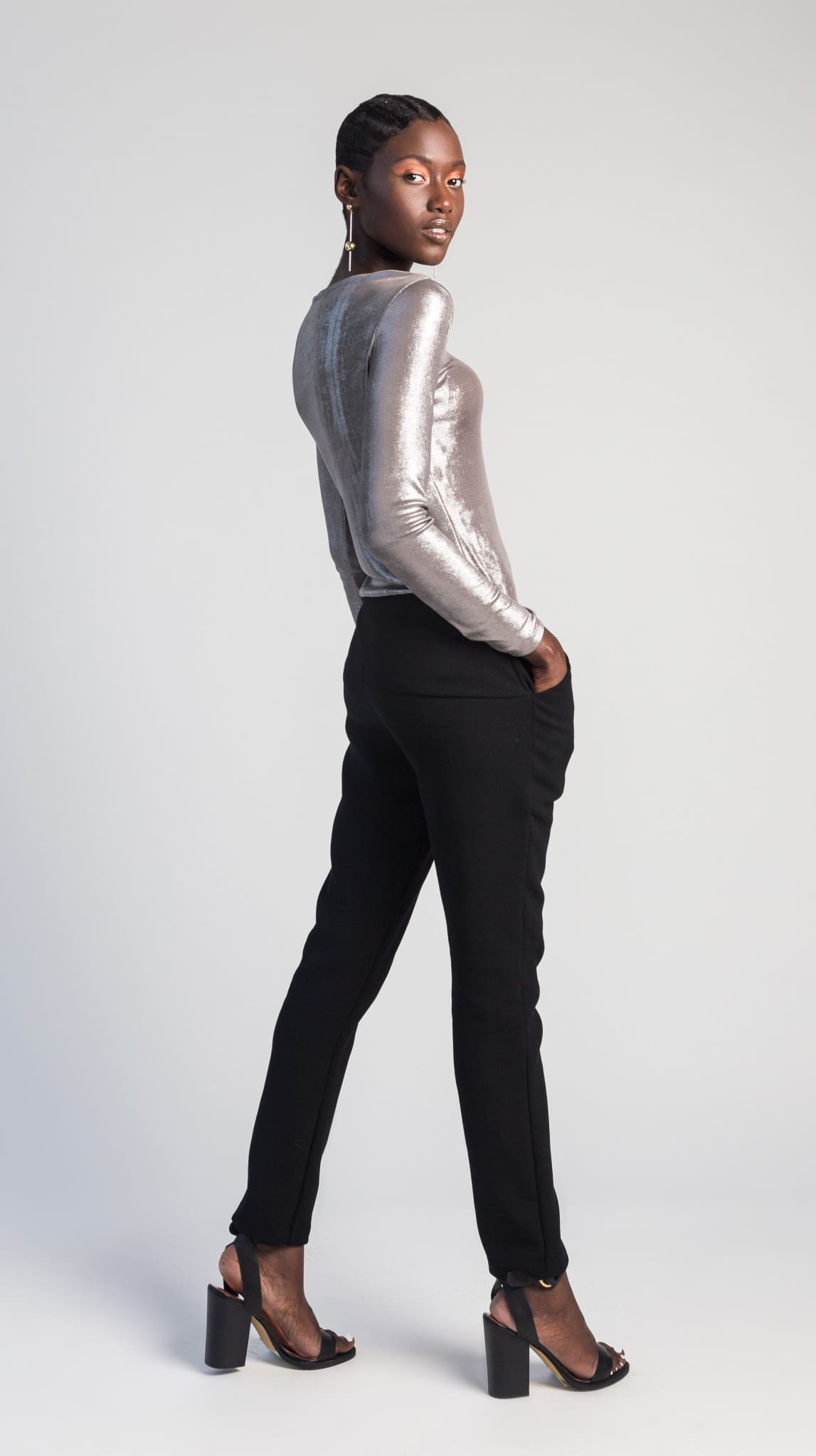 Luna Metallic Silver Long Sleeve Top back by VARYFORM for Nineteenth Amendment