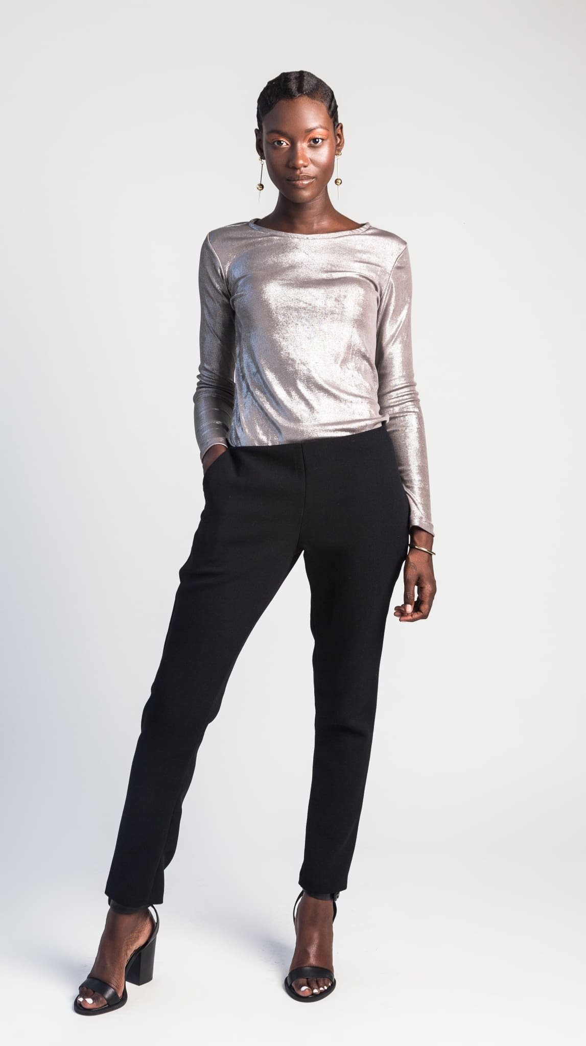 Luna Metallic Silver Long Sleeve Top front by VARYFORM for Nineteenth Amendment