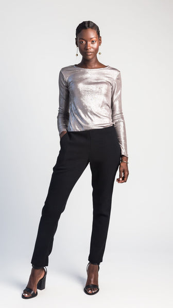 Luna Metallic Silver Long Sleeve Top