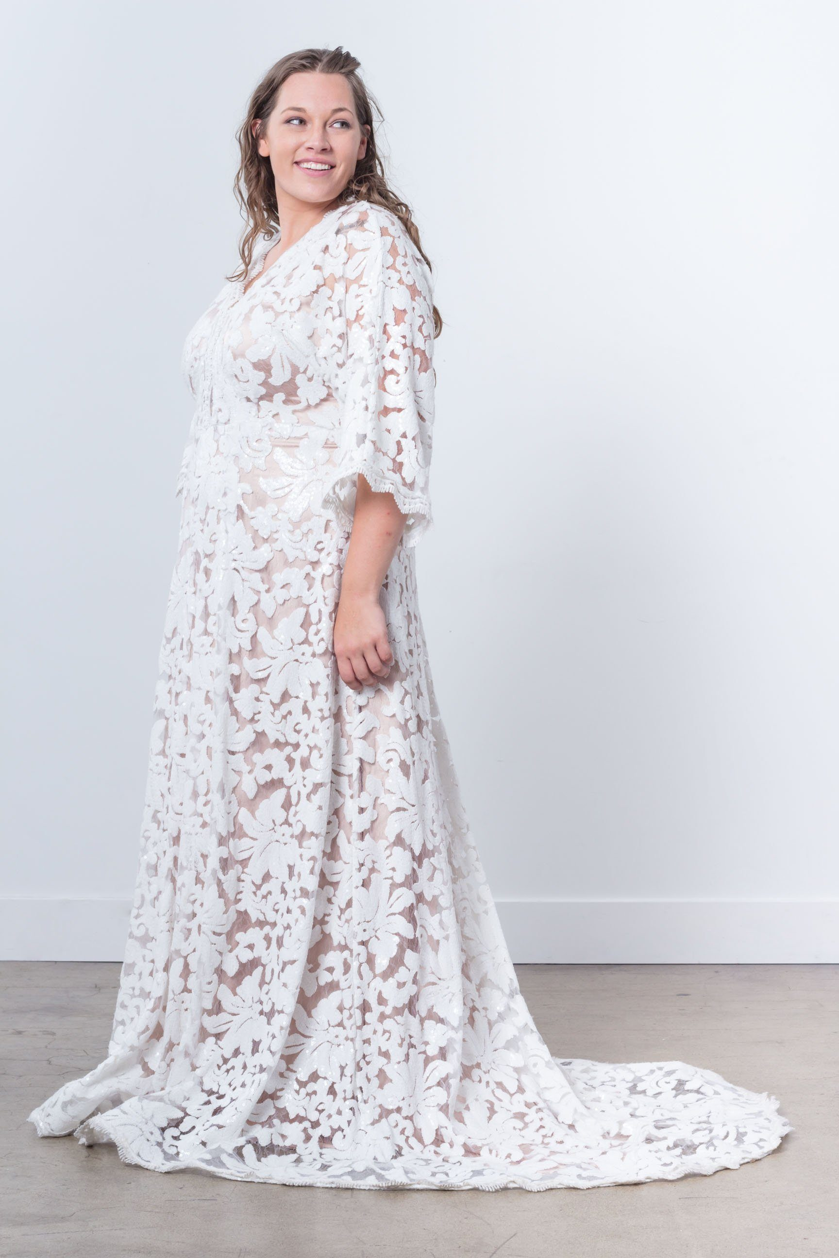 Nerecina Plus Size Majestic Gown Bridal Formalwear Made in LA Nude Lace See through Nude gown long sleeve