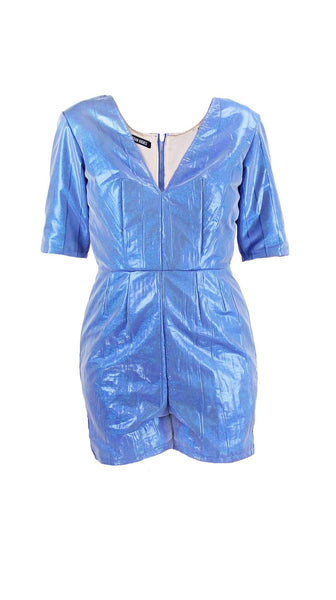 Blue Metallic David Bowie Romper by Meghan Hughes | Nineteenth Amendment