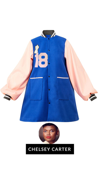 Blue Wool Pink Sleeve Customize-able Mills-Guy Letterman Jacket by Chelsey Carter of Bravo's Project Runway | Nineteenth Amendment