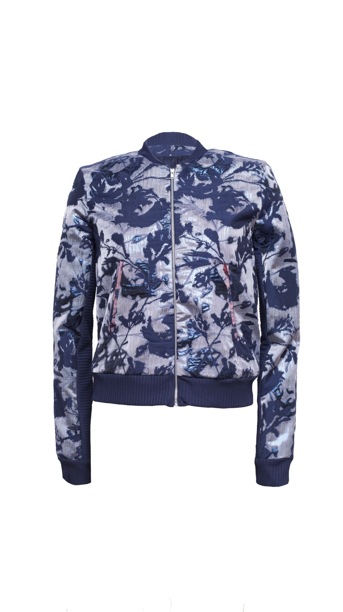 Navy Blue Metallic Rai Jacquard Bomber Jacket by VARYFORM | Nineteenth Amendment