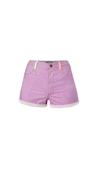 Purple Neon Colorblock Shorts by Meghan Hughes | Nineteenth Amendment