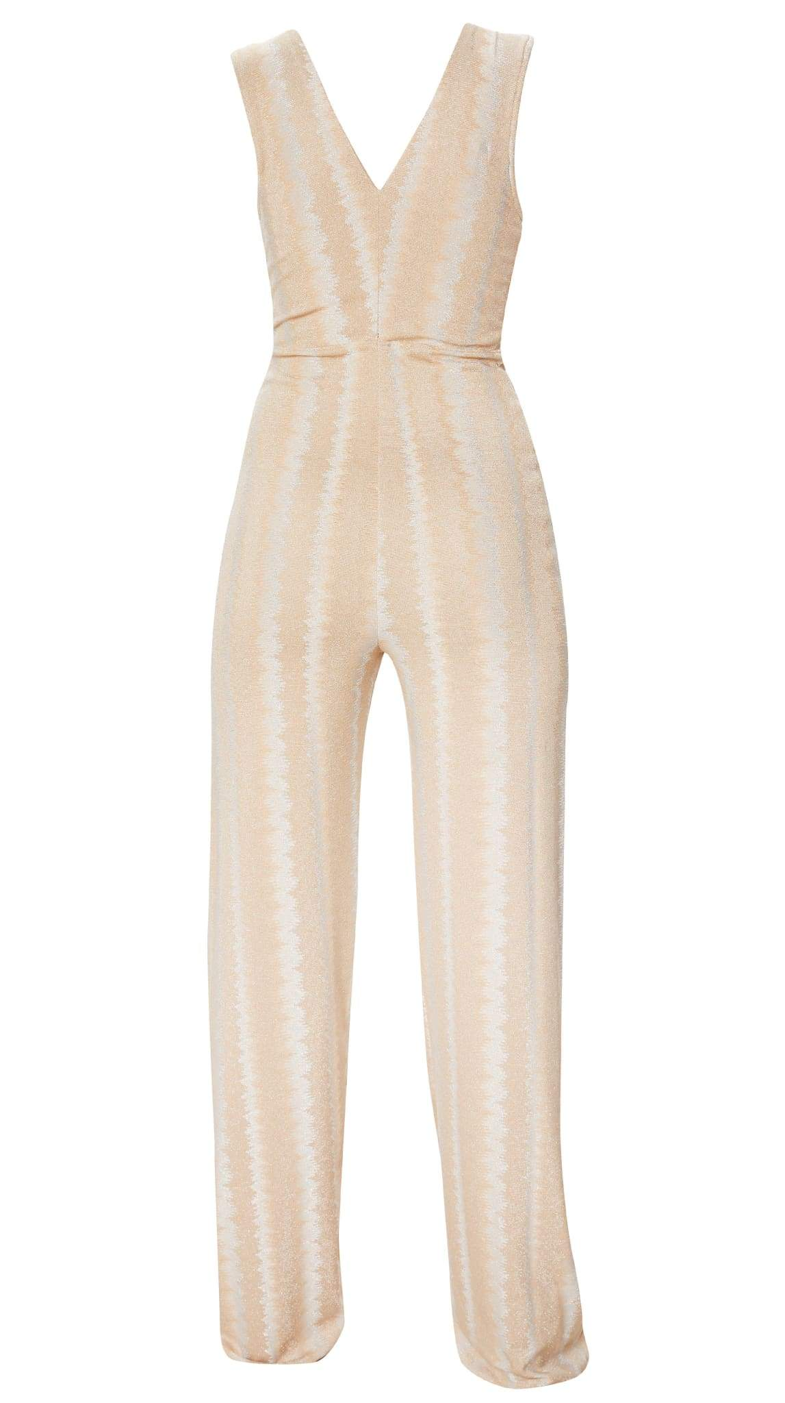 Nude Metallic Jumpsuit by Meghan Hughes | Nineteenth Amendment