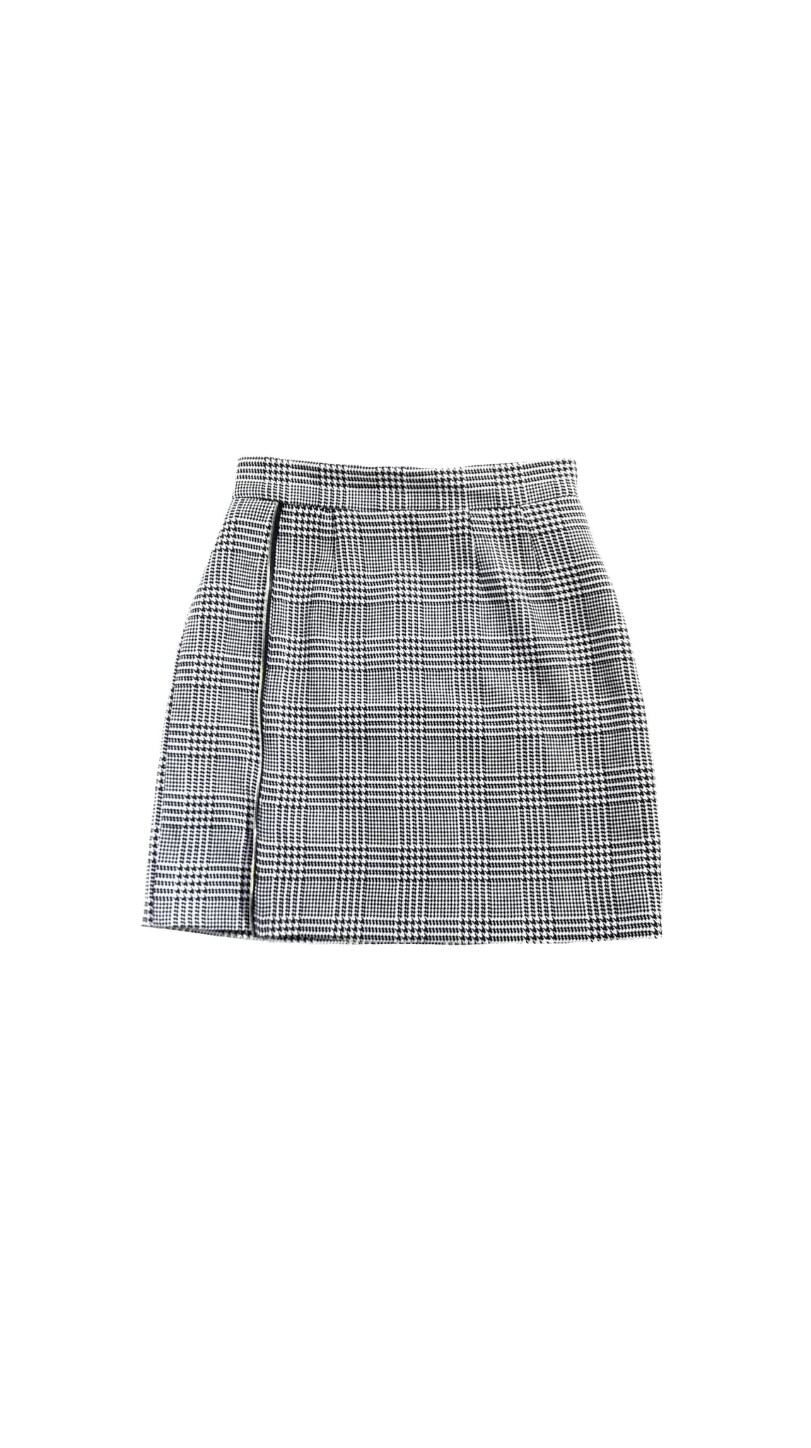 Black and white houndstooth Off Pattern zipper Skirt by Chanho Jang | Nineteenth Amendment