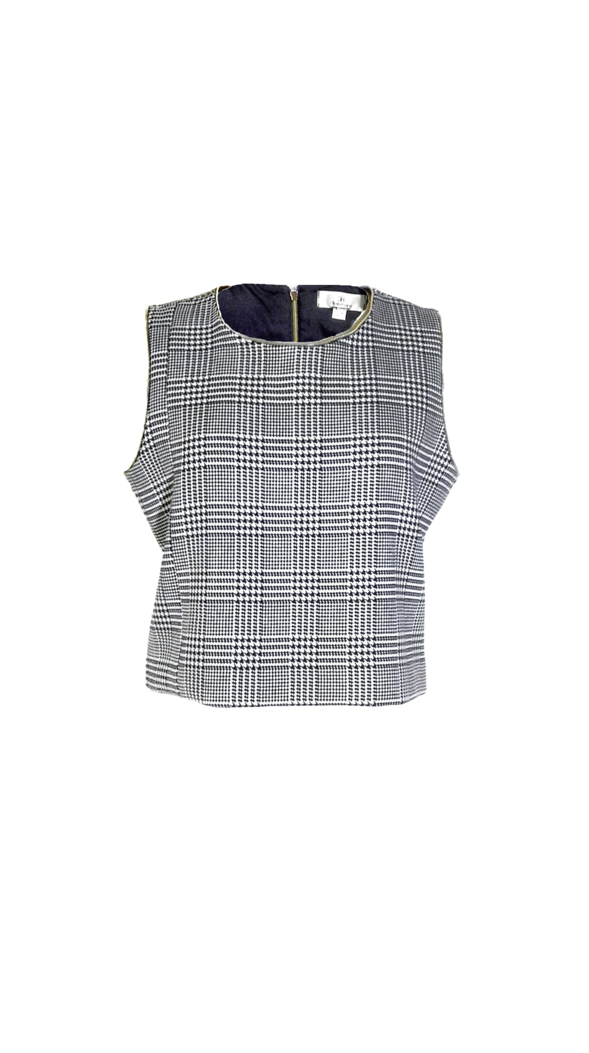 black and white houndstooth sleeveless Off Pattern Top by Chanho Jang | Nineteenth Amendment