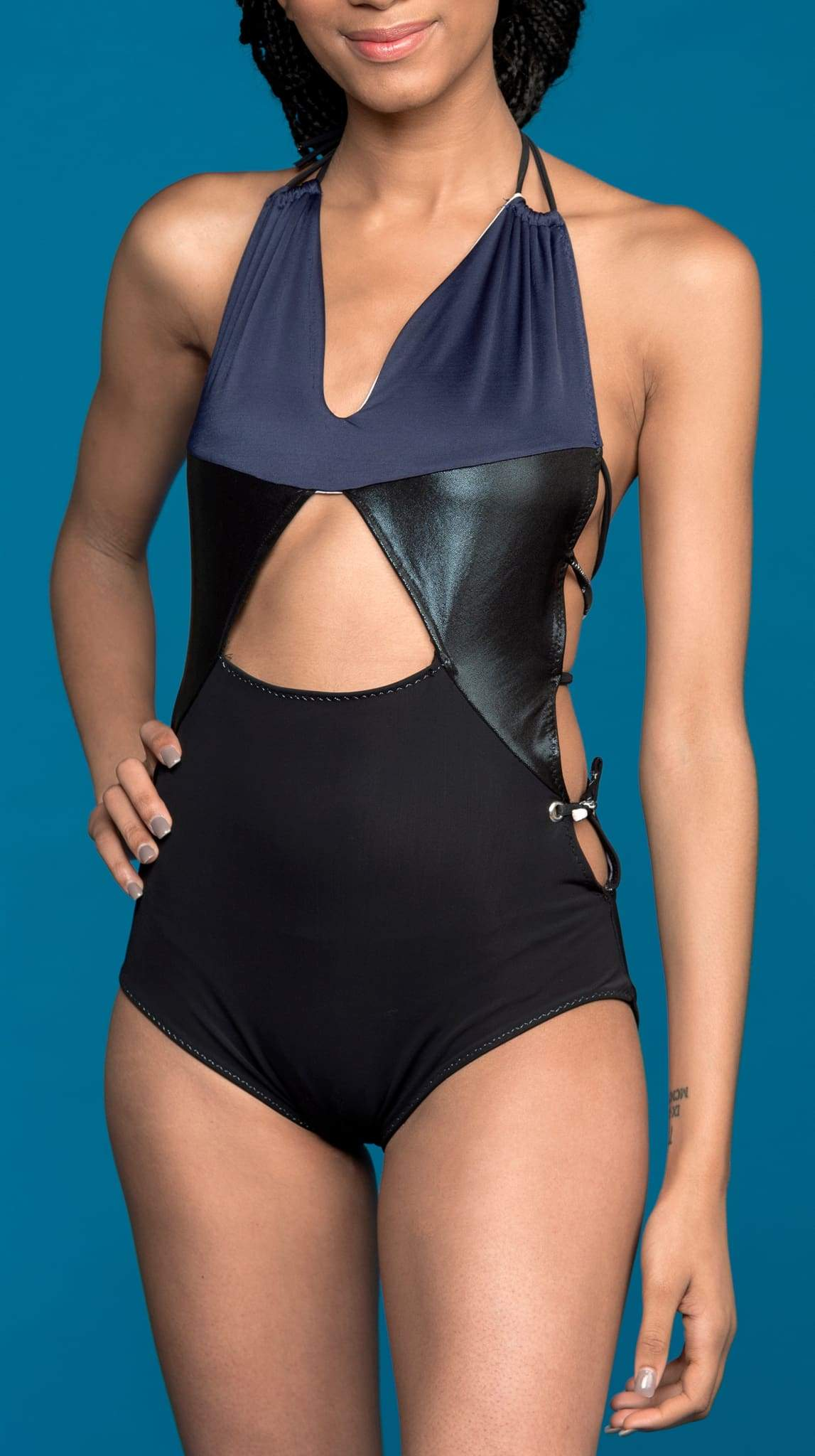 Black One Piece Recycled fabric Onyx Swim Suit by Rosina Mae Nineteenth Amendment