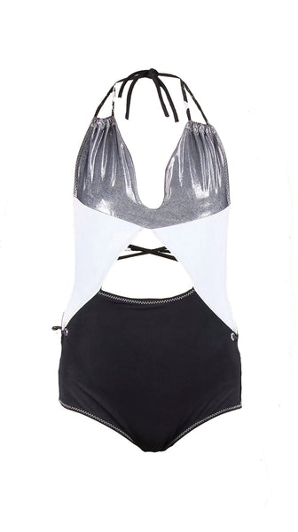 White Silver and Black Ice Onyx Swimsuit Recycled Fabric by Rosina Mae Nineteenth Amendment