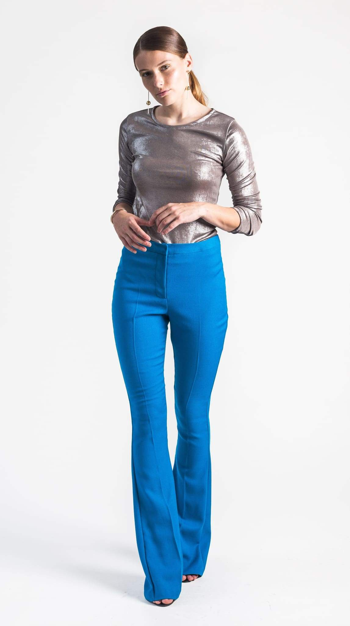 Phoebe high waisted Blue Flare Pant back by VARYFORM for Nineteenth Amendment