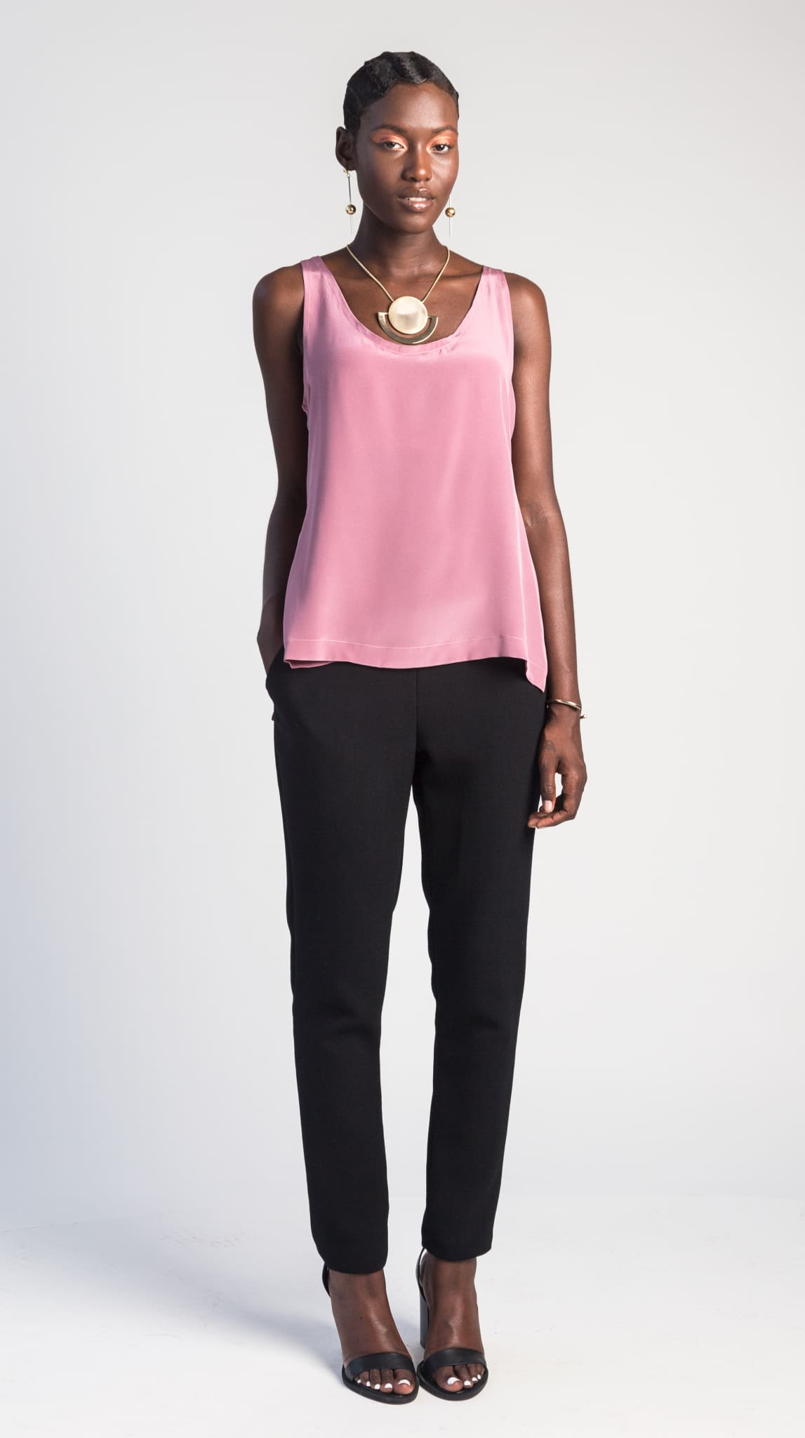 Rose pink Silk Crepe de Chine classic, simple tank top by Chicago independent fashion designer Masha Titievsky of the brand VARYFORM. Sustainable fashion made on demand in the USA.