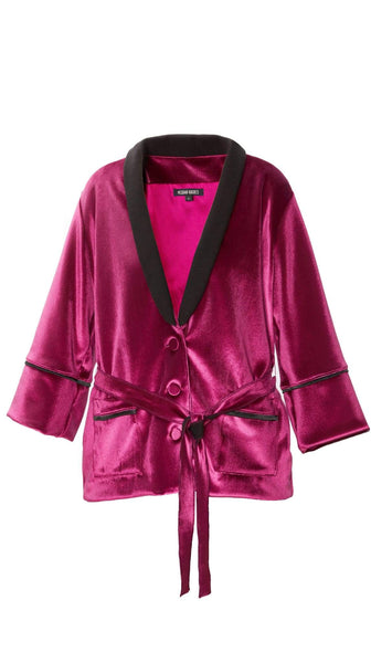 Pink Velour Smoking Jacket by Meghan Hughes | Nineteenth Amendment