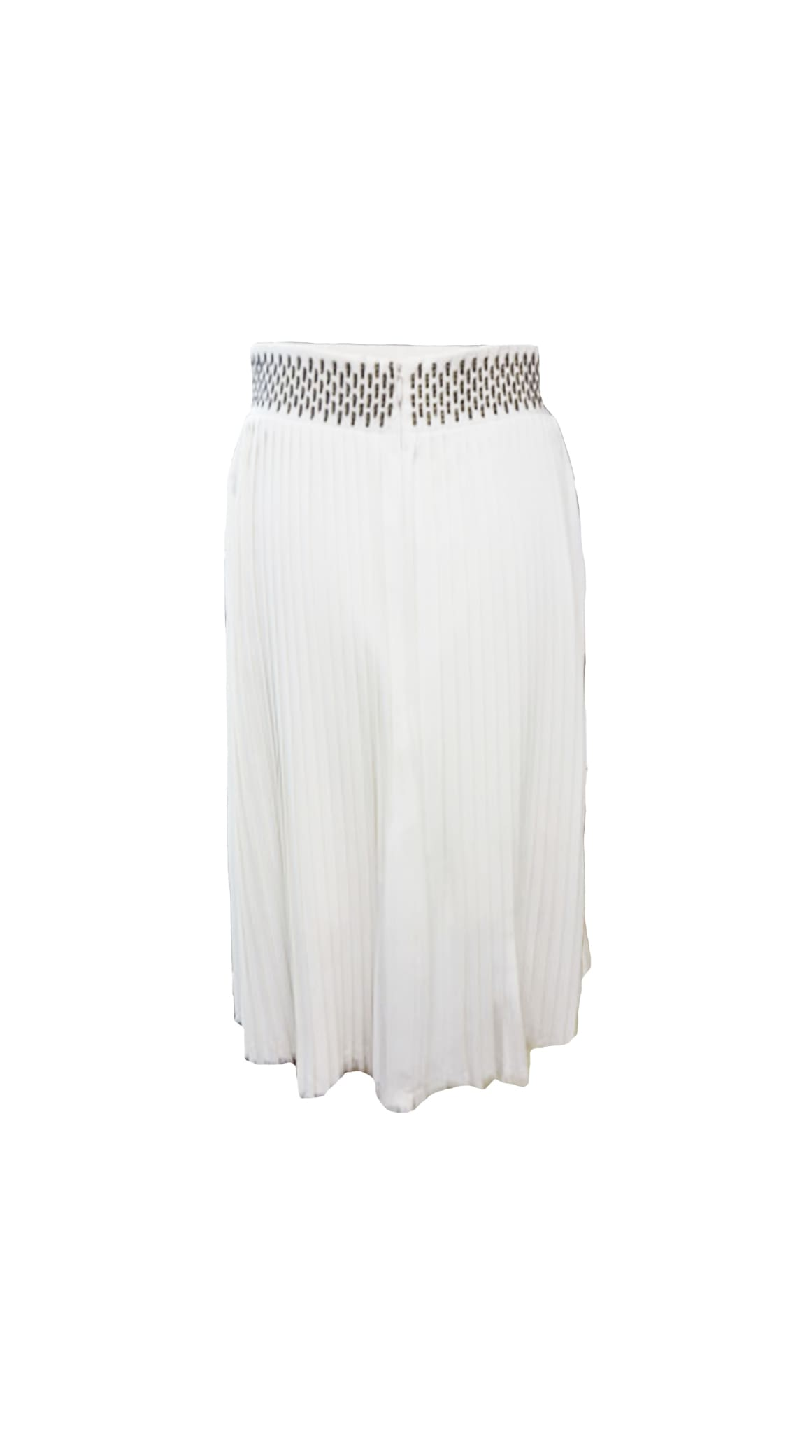 Pleated A-Line Cream Skirt by fashion designer Chanho Jang of South Korea | Nineteenth Amendment made in the USA