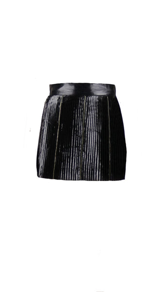 Black Pleated Mini Skirt by Chanho Jang | Nineteenth Amendment