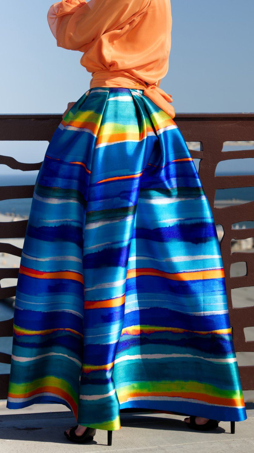 Vibrant Puna Maxi Skirt by SF Couture | Nineteenth AmendmentPuna Blue Multicolor Stripe Maxi Skirt by SF Couture | Nineteenth Amendment