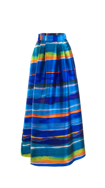 Puna Blue Multicolor Stripe Maxi Skirt by SF Couture | Nineteenth Amendment