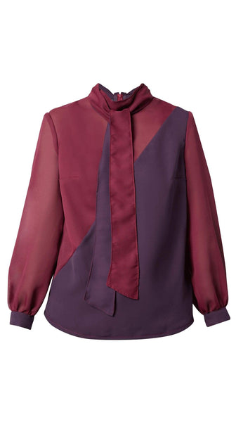 Purple and Maroon Bias Tie Blouse by Meghan Hughes | Nineteenth Amendment